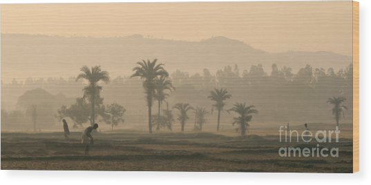Jharkhand Early Morning Wood Print by Angie Bechanan