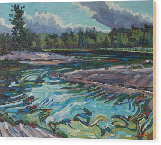 Jim Afternoon Rapids Wood Print