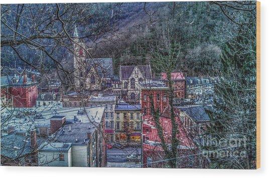Jim Thorpe Pennsylvania In Winter #1 Wood Print