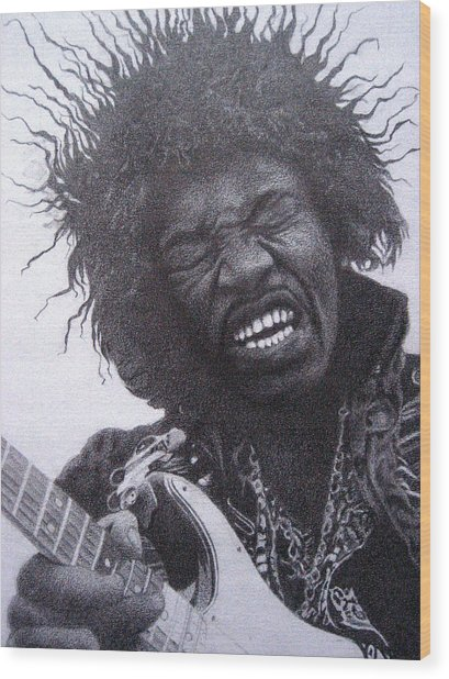 Jimi Hendrix Drawing Wood Print by Lana Cheng