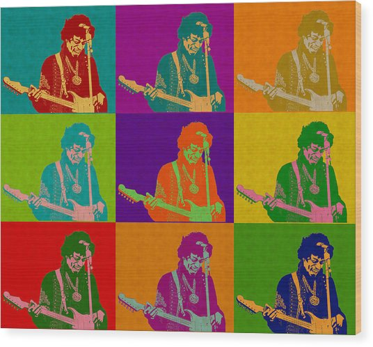Jimi Hendrix In The Style Of Andy Warhol Wood Print