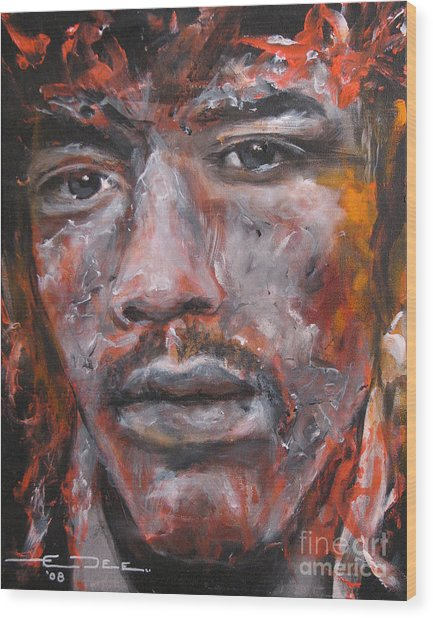 Jimi Hendrix Manic Depression Wood Print