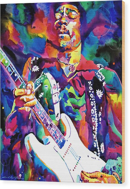 Jimi Hendrix Purple Wood Print
