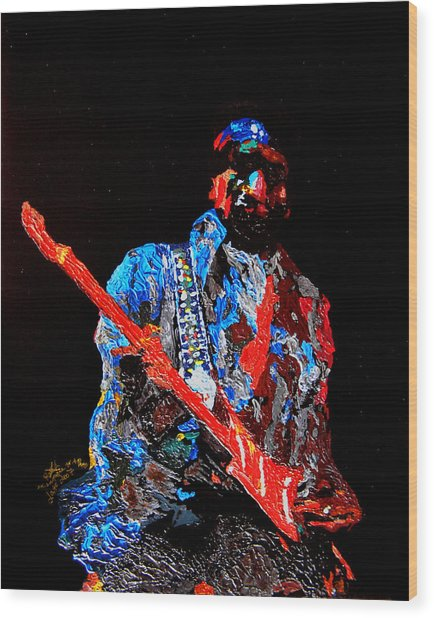 Jimi With Guitar Wood Print by Mike Aitken