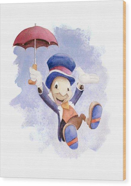 Jiminy Cricket With Umbrella Wood Print