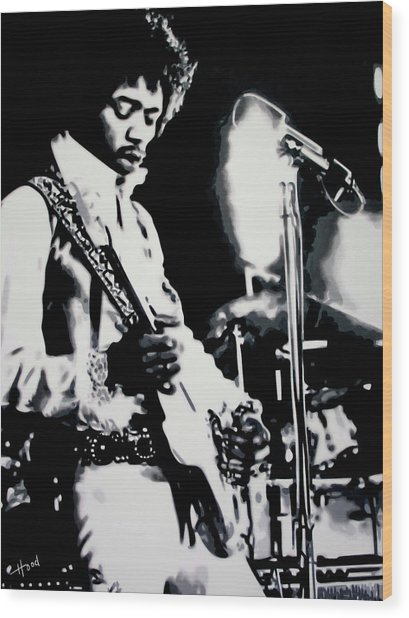Jimmy Hendrix Purple Haze Wood Print