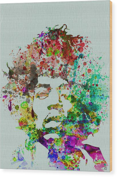 Jimmy Hendrix Watercolor Wood Print