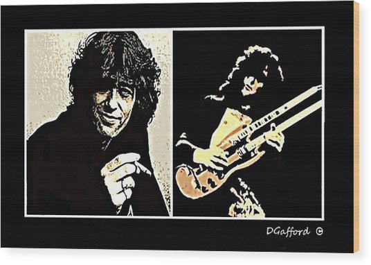 Jimmy Page Wood Print by Dave Gafford