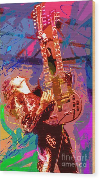 Jimmy Page Stairway To Heaven Wood Print