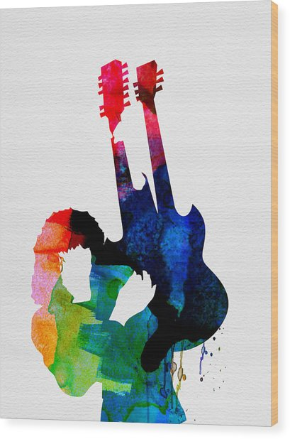 Jimmy Watercolor Wood Print
