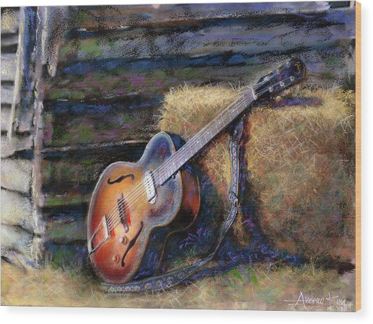 Wood Print featuring the painting Jim's Guitar by Andrew King
