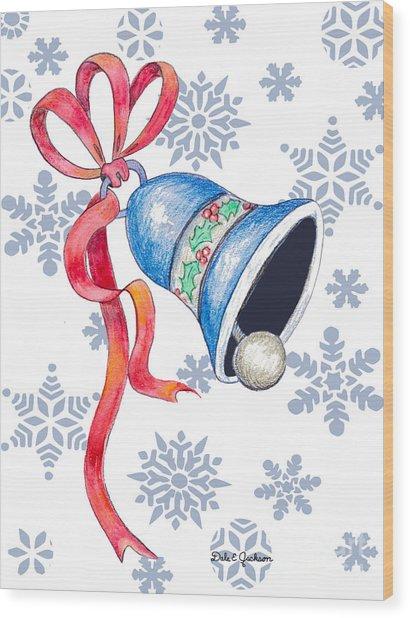 Jingle Bells And Snowflakes On Christmas Day Wood Print