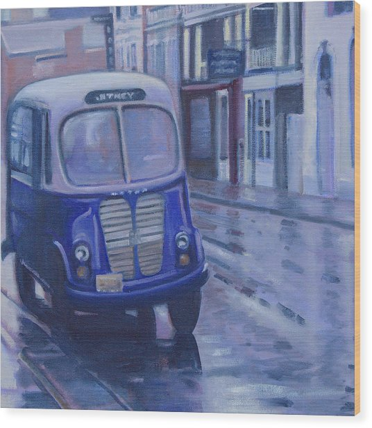 Jitney Ride In The Rain Wood Print