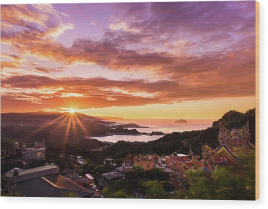 Jiufen Sunset Wood Print