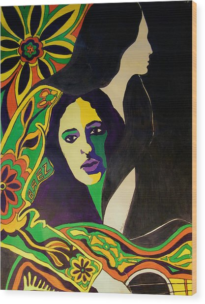 Joan Baez In The Psychodelic Age Wood Print