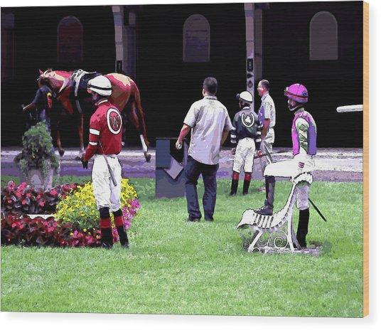 Jockeys Painting Wood Print