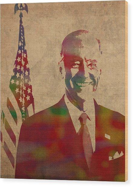 Joe Biden Watercolor Portrait Wood Print