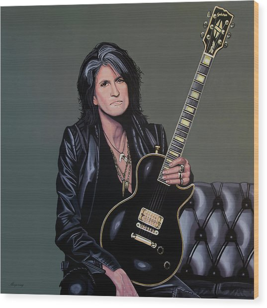 Joe Perry Of Aerosmith Painting Wood Print