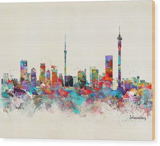 Johannesburg South Africa Skyline Wood Print