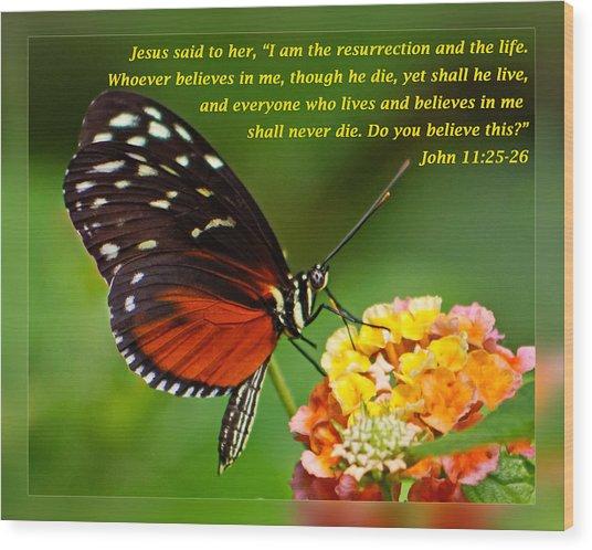 John 11 25-26 Wood Print