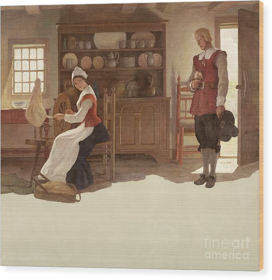 John Alden And Priscilla Wood Print