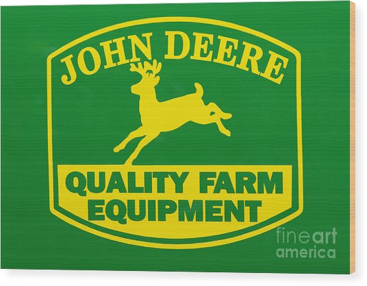 John Deere Farm Equipment Sign Wood Print