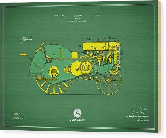 John Deere Tractor Patent Wood Print