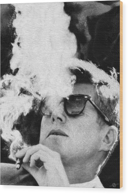 John F Kennedy Cigar And Sunglasses Black And White Wood Print