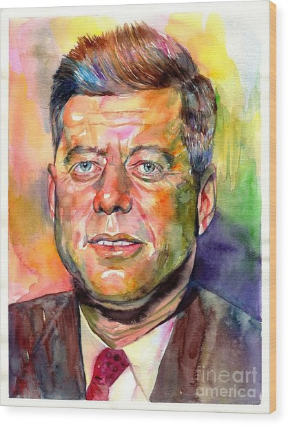 John F. Kennedy Watercolor Wood Print