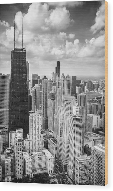John Hancock Building In The Gold Coast Black And White Wood Print