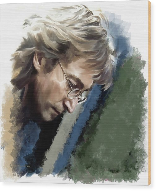 John Lennon Caring To Know Wood Print by Iconic Images Art Gallery David Pucciarelli