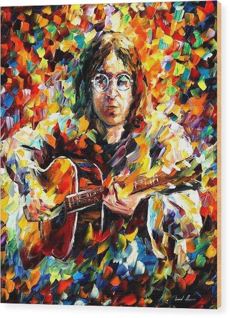 John Lennon Wood Print by Leonid Afremov