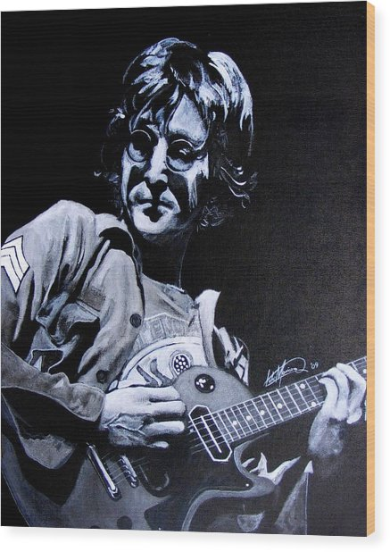 John Lennon Wood Print by Luke Morrison