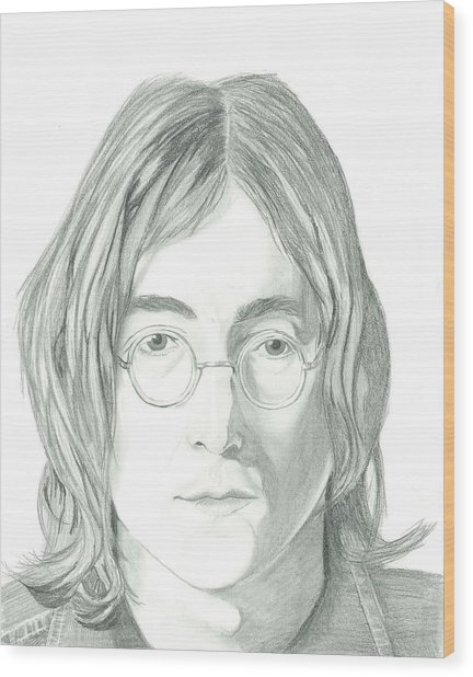 John Lennon Portrait Wood Print by Seventh Son