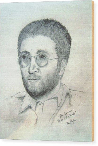 John Lennon Power To The People Wood Print