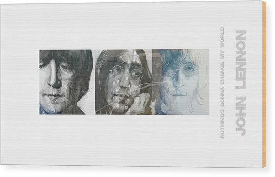 John Lennon Triptych Wood Print