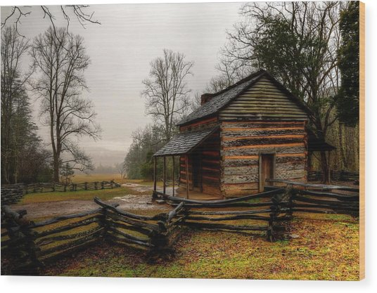 John Oliver's Cabin In Cades Cove Wood Print