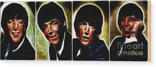 John, Paul, George And Ringo Wood Print