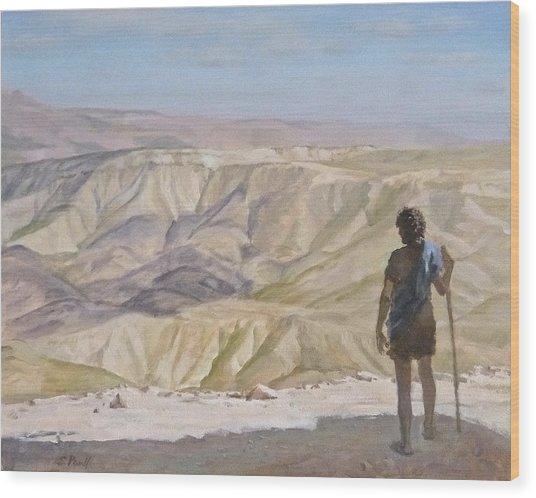 John The Baptist In The Desert Wood Print