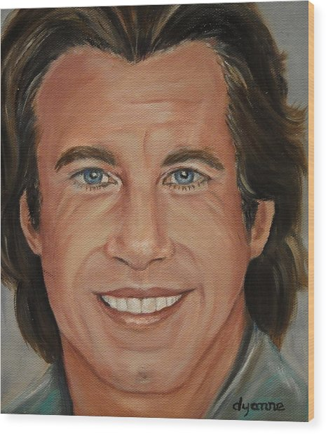 John Travolta Celebrity Painting Wood Print by Dyanne Parker