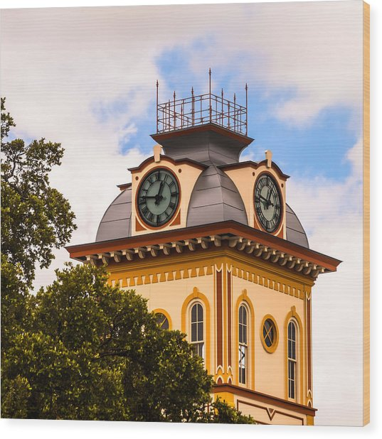 John W. Hargis Hall Clock Tower Wood Print