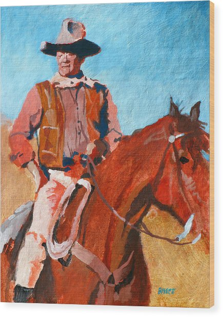 John Wayne Wood Print by Robert Bissett