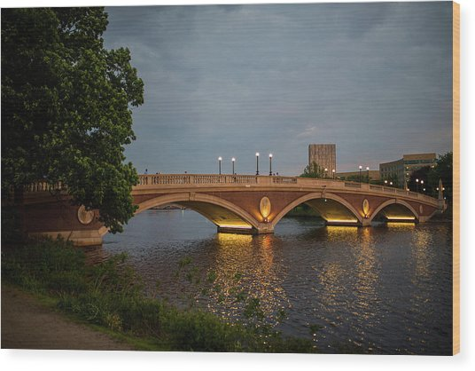 John Weeks Bridge Harvard Square Chales River Sunset Trees 2 Wood Print
