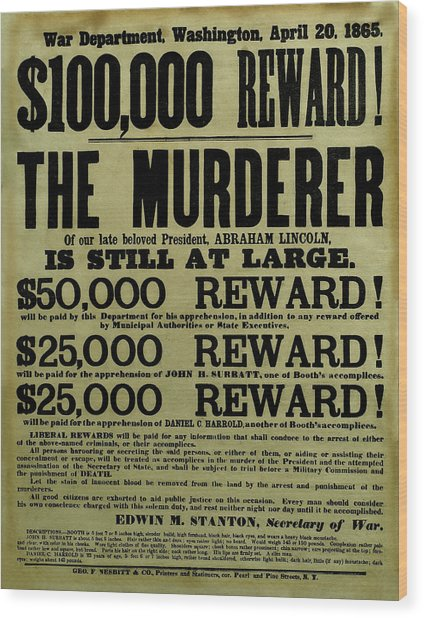 John Wilkes Booth Wanted Poster Wood Print