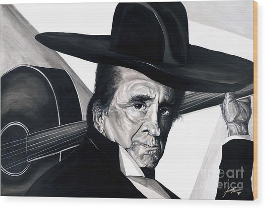Johnny Cash Wood Print by Keith  Thurman