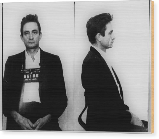 Johnny Cash Mug Shot Horizontal Wood Print