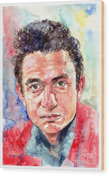 Johnny Cash Portrait Wood Print