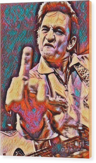 Johnny Cash Says Hello Wood Print