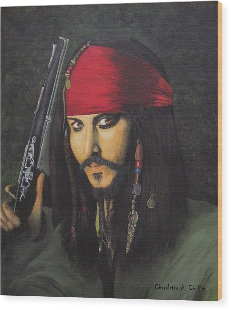 Johnny Depp- Captain Jack Wood Print by Charolette A Coulter