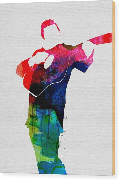 Johnny Watercolor Wood Print